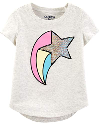 Osh Kosh Girls' Toddler Sequin Short-Sleeve T-Shirt, Star Glitter, - Star T-shirt Toddler