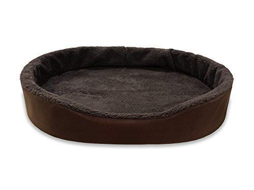 Dog Bed King USA Cuddler Nest Pet Beds. X-Large (Sleep Area: 38 x 26) Brown Exterior/Imitation Brown Lambswool Interior.