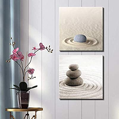 Two Piece Canvas - Rocks on Soft Sand with Raked Patterns on 2 Panels - Canvas Art Home Art - 12x12 inches