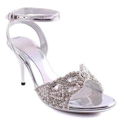 Unze Frauen Maisie Knöchelriemen Abend Pearl eingerichtet Dinner Party Slip on Open Toe Hochzeit Diamante Design Mid-High Heel Sandalen Größe 3-8 - 2289-1780 Silber
