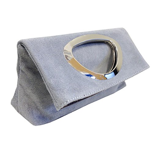 Bag Ladies Light Clutch Tote Small Real Bag Italian Evening Suede Coffee amp; Grey Leather 886wa