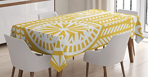 "Ambesonne Yellow and White Tablecloth, Abstract Bird in Scandinavian Folkloric Style Retro Design Floral Motif, Dining Room Kitchen Rectangular Table Cover, 60"" X 84"", Mustard White"