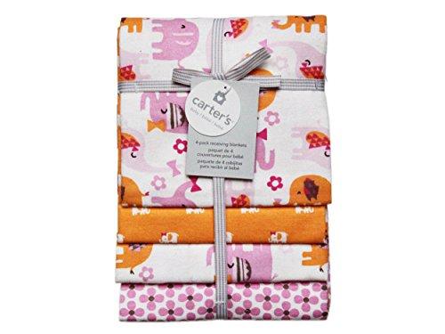 Kidsline Nursery Bedding - Carter's Receiving Blanket, Pink Elephant, 4 Count