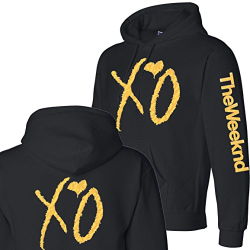 Tee Plaza - XO The weeknd Hoodie GOLD print sweater- 3-side Black L