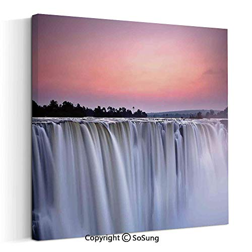 Painting on Canvas Print Wall Art Picture Grand Majestic Waterfalls View at Sunset in Africa Wild Mist Exotic Land Photo for Living Room Bedroom Wall Decor (20 x 20 inch, Framed) White Pink (20 Best Stadium In Africa)
