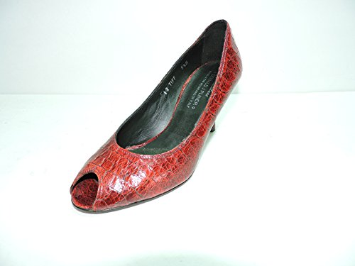 Donald J Pliner Couture Womens Tiff Red Tomato, Antique Alligator Peep Toe Pumps Heels Size 6 M