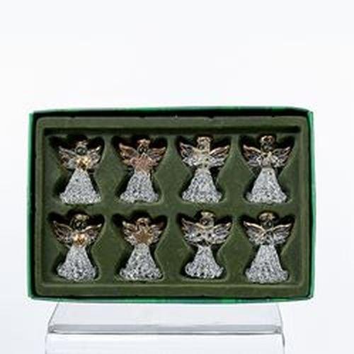 Kurt Adler Clear Glass Angel Ornament, 1.57-Inch, Set of 8 - Cherub Angel Christmas Ornaments