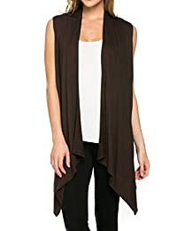 2LUV Women's Draped Open Front Jersey Knit Vest