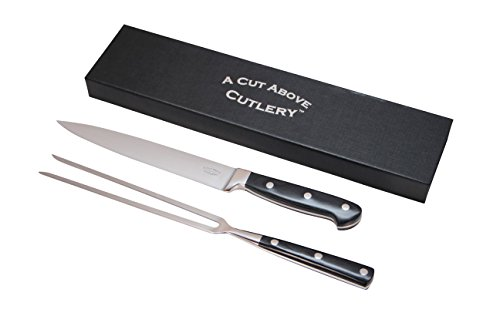 Carving Knife Set from A Cut Above Cutlery, Professional 8 Inch Stainless Steel Blade and Extended Fork, the perfect Holiday Gift and - Fork Cutlery Meat
