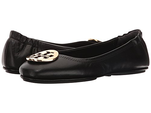 Tory Burch Reva Shoes Ballet Minnie Travel Flats Soft Naplak Leather TB Logo (7, Black - Burch Reva
