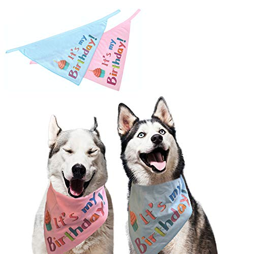 SCENEREAL Dog Birthday Bandana Pet Scarf 2 Pcs/Pack Triangle Bibs Accessories for Small to Large Dogs Cats Blue and Pink…