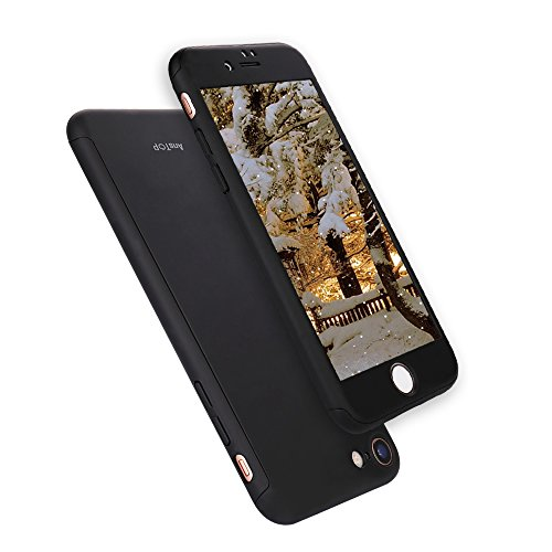 iPhone 7 Case, AnsTOP 360 Full Body Case Protection Hard Slim Case with Tempered Glass Screen Protector For iPhone 7 (Black)