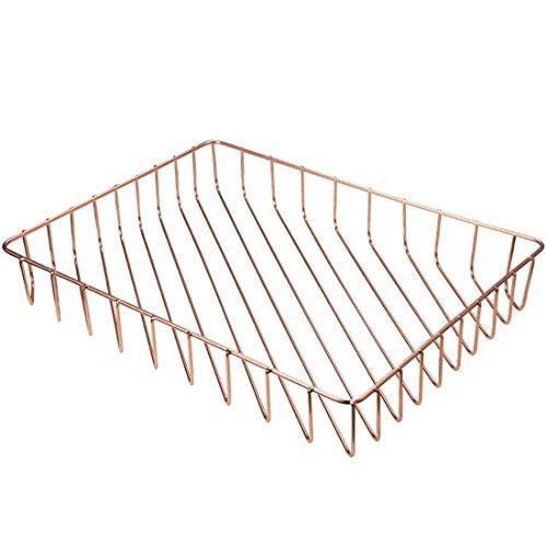 Prime Leader Metal Wire Mesh Storage Organizer Basket for Desktop Clothing Fruit Snacks Tray Kitchen Tool Holders Rose gold 12.5''x9.4''x1.8'' by Prime Leader