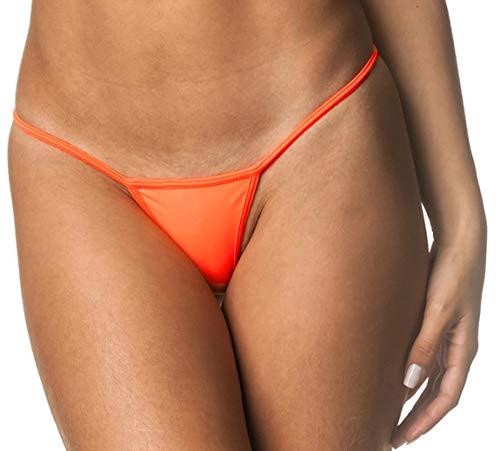 THE MESH KING Coqueta Brazilian Teeny Micro Thong Mini Bikini Swimsuit G String Orange-Large