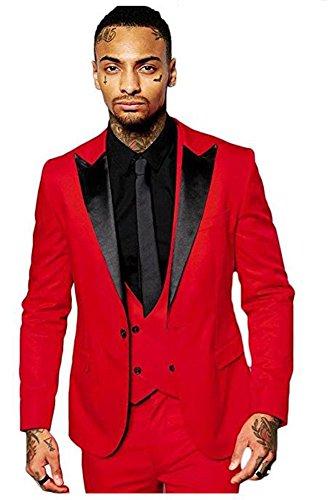 Men Red Suit - Yanlu Men's Slim Fit 3 Piece Black Lapel Dress Suits Prom Wedding Suit Set
