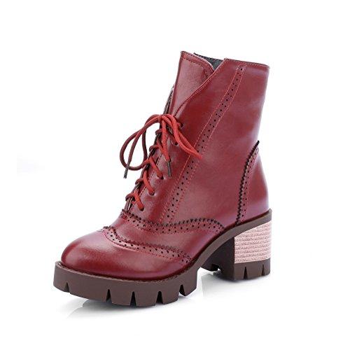 Heels Mädchen Plattform Chunky N Rot A Lederstiefel Imitiert Bandage wqzavSZI4