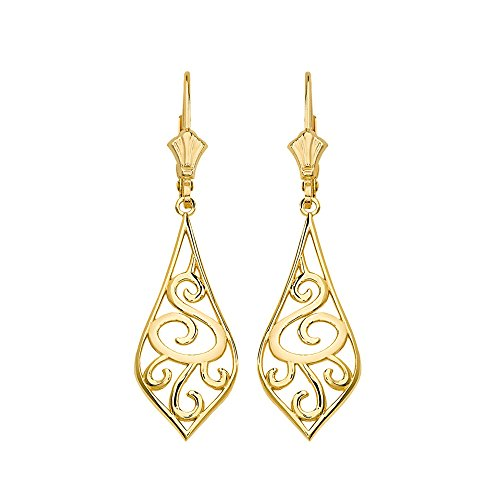 Solid 14k Yellow Gold Filigree Rattan & Leaf Design Dangle Earrings (1.42