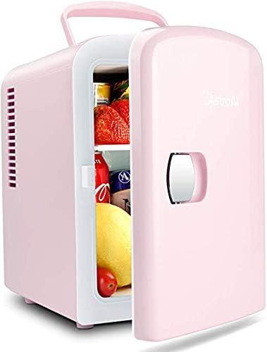 AstroAI Mini Refrigerador, Mini Nevera Portátil para el Skincare 4L 6 Latas de Refrescos, Mini Neveras 220V/12V para Enfriar y Calentar (Rosa)