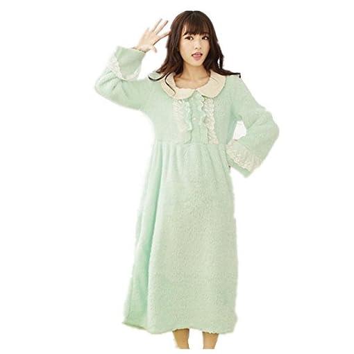 DMMSS-Coral-velluto-a-manica-lunga-abito-tinta-colore-Princess-Bath-Robe-rotondo-collo-pizzo-pigiama-della-signora