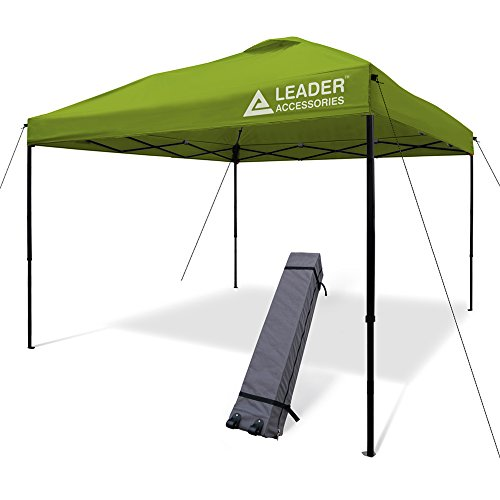 Leader Accessories 10'x10' Instant Canopy Pop Up Canopy Straight Wall including Wheeled Carry Bag, Green