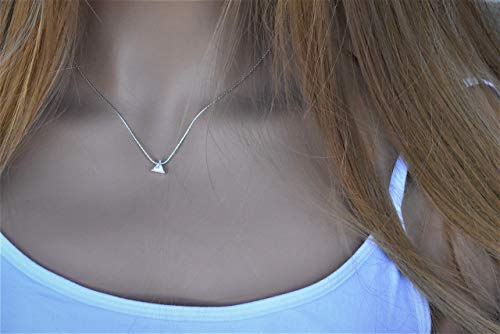 Minimalist necklace Silver Tiny CZ solitaire Triangle Charms