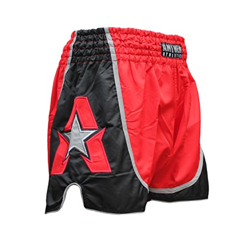 Anthem Athletics Infinity Muay Thai Shorts - Kickboxing, Thai Boxing - Red & Black - X-Large