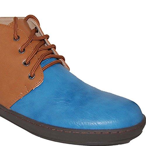 Chaussures Artistes Cuir Doublé Marron Bleu Chukka, Hommes