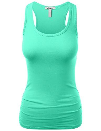 HATOPANTS Women's Casual Basic Racerback Side Shirred Tankini Tops Mint M
