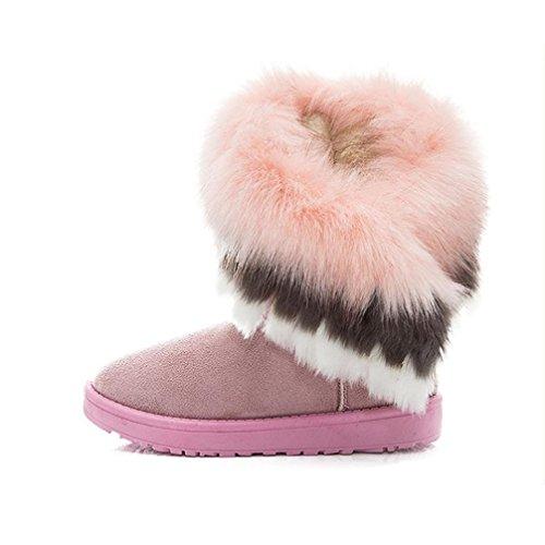 rosa de Ouneed Botas nieve Caliente Botas Mujer ® de Mujer Moda de Botas nieve piel zapatos 4aYZqZ