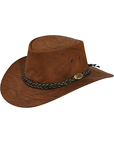 Jacaru Men's Jacaru Wallaroo Suede Outback Hat Brown Medium