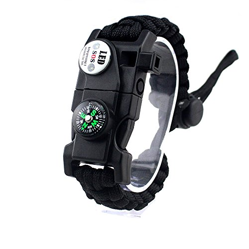 MansWill Adjustable Survival Bracelet, 7 Core Paracord 20 in 1 Emergency Sports Wristband Gear Kit Waterproof LED SOS Light, Compass, Rescue Whistle, Fire Starter Multi-Tool Wilderness Adventure]()