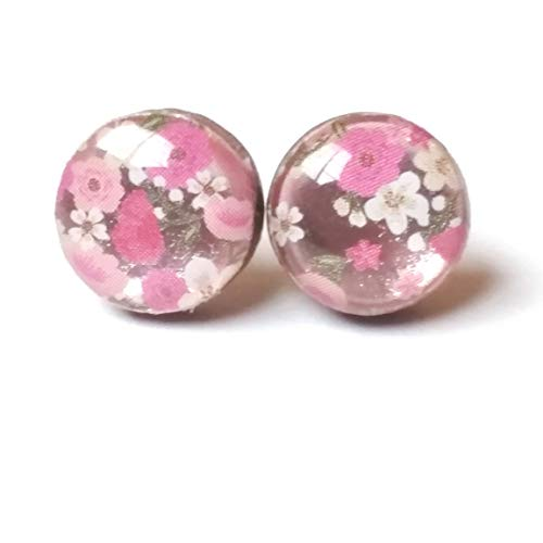 Handmade pink and white floral print with light pink metallic background wooden stud earrings 10mm jewelry