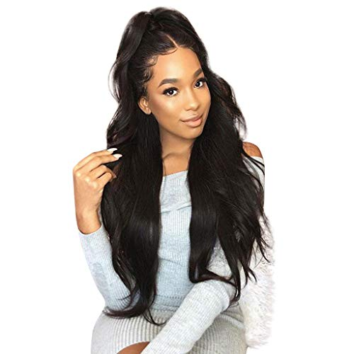 (Fashion Black Lace Wig Mixed Color Glueless Long Natural Wavy Middle Part Synthetic Lace Front Wigs For Women Half Hand Tied Heat Resistant)