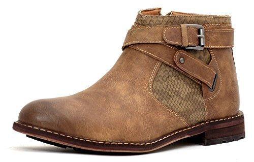 Botines Hombre Motero Hebilla Zapatos Casual Elegante Cremallera Caminar Talla - Beige, 6 UK /