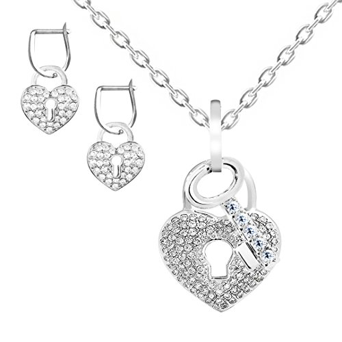 Necklace Heart Rhinestone Lock (Kigmay Jewelry Pave Crystal Rhinestone Heart Key Lock Pendant Necklace for Women)