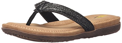 Volatile Women Avalonie Flat Sandal, Black, 7 B US