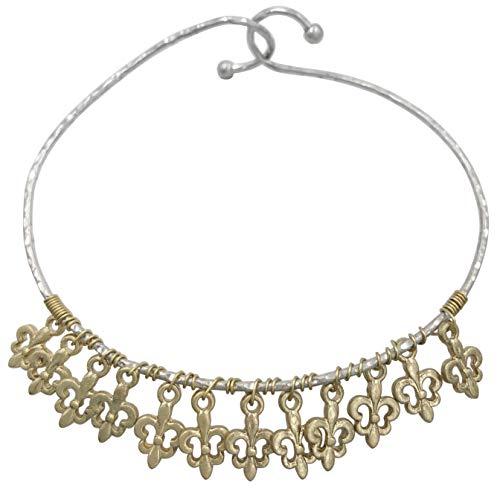 Gypsy Jewels Thin Wire Twist Theme Hook Dainty Stackable Bangle Bracelet (Gold Charms Fleur De Lis)