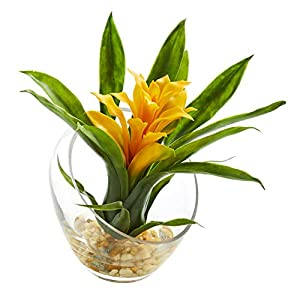 Artificial Flowers -8 Inch Yellow Tropical Bromeliad in Angled Vase Silk Flowers 70