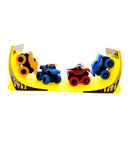 Mozlly Friction Big Super Power Monster Trucks Showdown Stadium Arena 6 Pc Multiplayer Vehicle Play Set - 360 Backflip Stunt Ramp, Push n Go Large Wheel Cars Boys, Toddlers, Kids ()