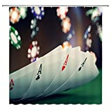 BCNEW Casino Shower Curtain Decor, Poker Cards Four Aces Colorful Poker Chips Jetton, 70 x 70 Inches Waterproof Mildew Resistant Polyester Fabric Machine Washable with 12pcs Hooks