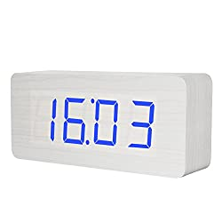 Wooden Digital Clock, KABB 8-Inches White Wood Grain Blue LED Light Alarm Clock with Time Date Temperature Display and Snooze & Acoustic Control Functions for Office and Home Decoration