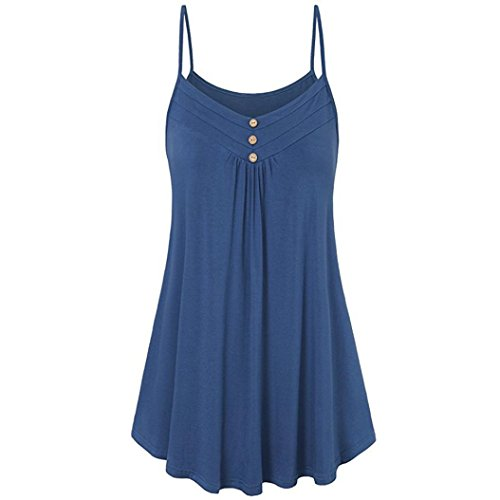 iDWZA Women Summer Loose Button V Neck Cami Tank Tops Solid Vest Blouse(3XL,Blue) - Electric Blue Cowl Neck