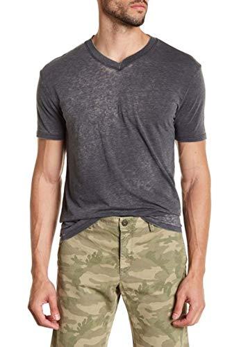 Mr. Swim Men's Short Sleeve V-Neck Tee - Casual Moisture Wicking T-Shirt - Burnout Charcoal Grey, -