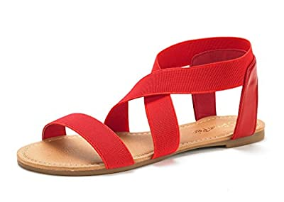 DREAM PAIRS Women's ELATICA Elastic Ankle Strap Flat Sandals