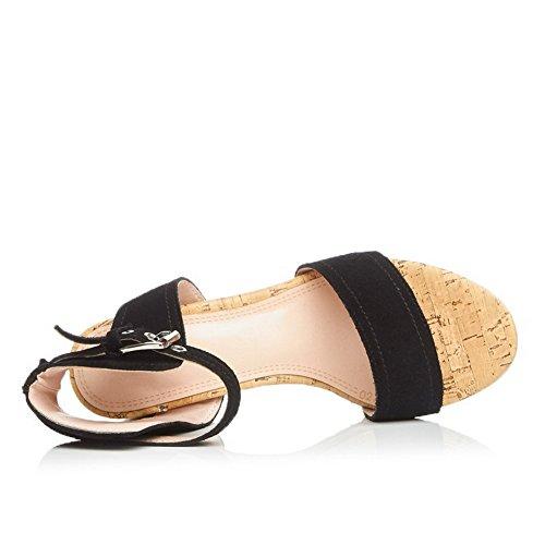 Amoonyfashion Donna Open Toe Sandali Con Fibbia In Pelle Morbida Tinta Unita Nera