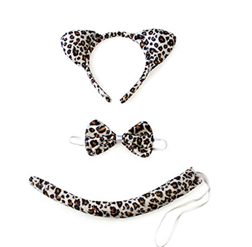 Halloween Headband Kids Animals Costume Dalmatian Mouse Wolf Tiger Cat Ears and Tail (Leopard) ()