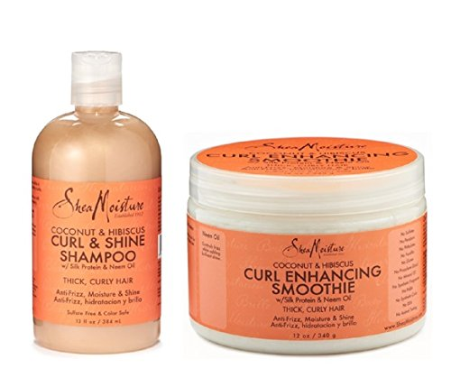 Shea Moisture Coconut & Hibiscus Combination Pack – 13 oz. Curl & Shine Shampoo & 12 oz. Curl Enhancing Smoothie
