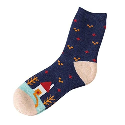 Sunfei Womens Christmas Cashmere Wool Thick Warm Socks Winter Fashion Striped Socks (Navy)