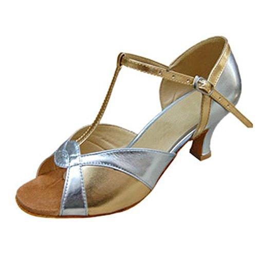 BYLE Sandalias de Cuero Tobillo Modern Jazz Samba Zapatos de Baile Zapatos de Baile Latino de Adultos de Verano Plata Correas de Zapatos de Baile. Onecolor