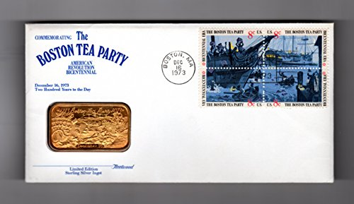 - Fleetwood Medalist Boston Tea Party Bicentennial, 12-16-1973. Gold on Silver 1-Ounce ingot, Serial Numbered, in Presentation Envelope with Boston Tea Party Stamp Block and U.S. Postal Stamping in Boston on that Bicentennial; C.O.A.